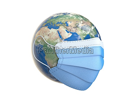 medical mask on planet earth 3d