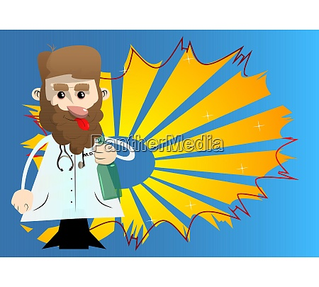 funny cartoon doctor holding a bottle