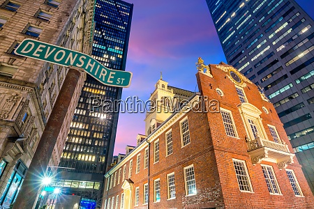 old state house at twilight in