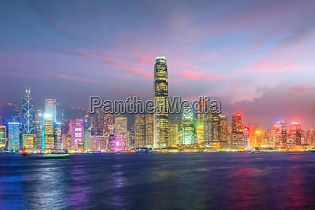 hong kong city skyline in china