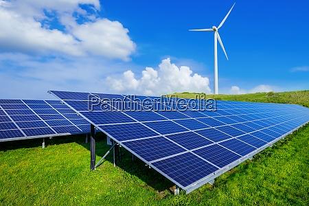 solar panels and a wind turbine