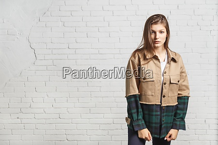young beautiful woman in autumn jacket