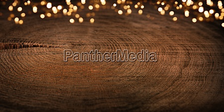 festive bokeh with natur wood