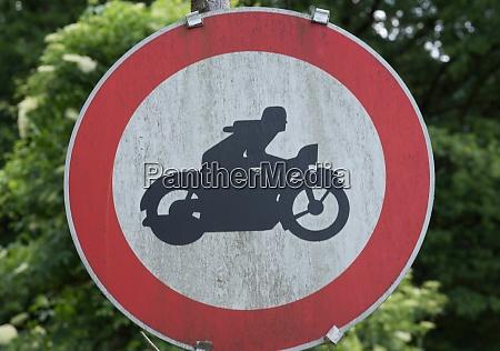 ban on motorcycles road sing