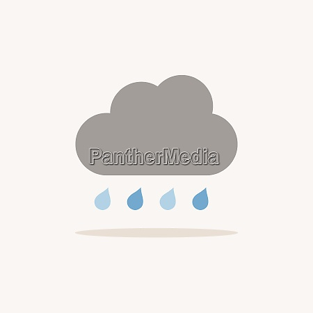 cloud and raindrops color icon with