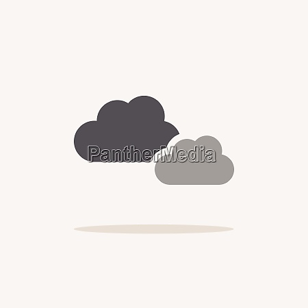 cloudy day color icon with shadow