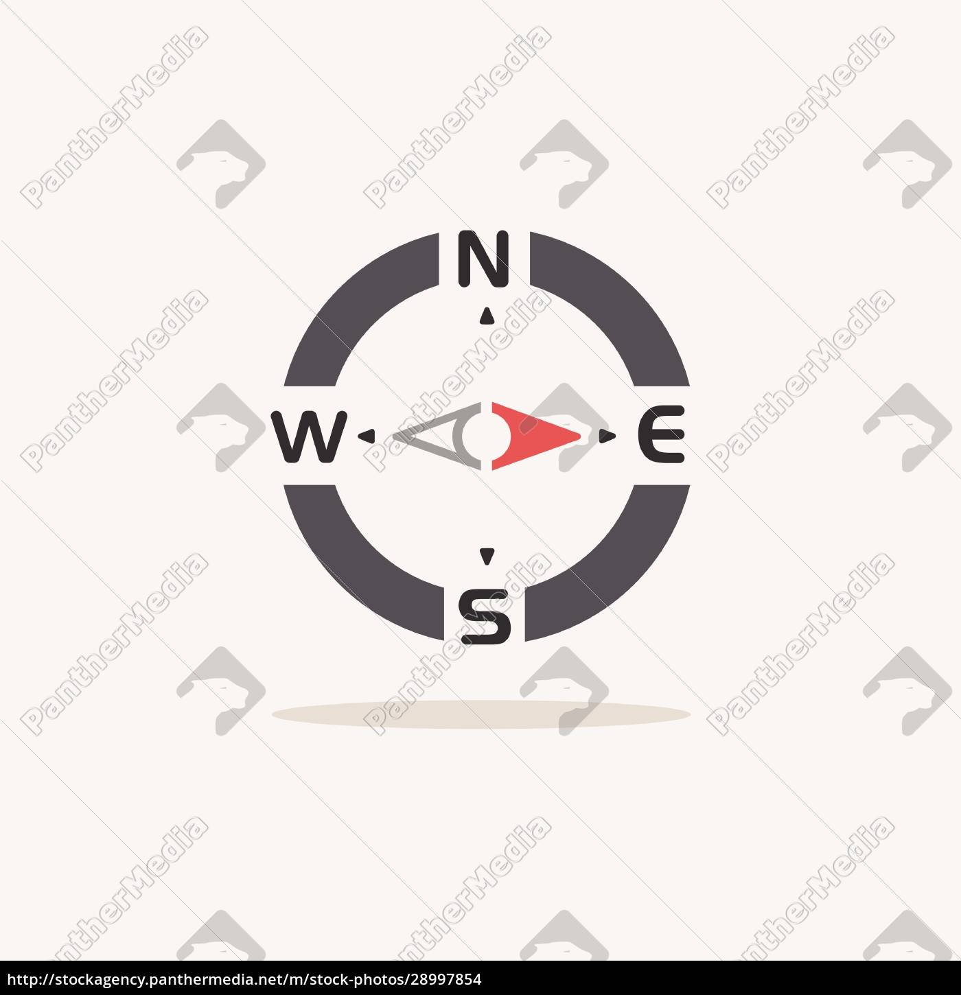 compass., east, direction., color, icon, with - 28997854