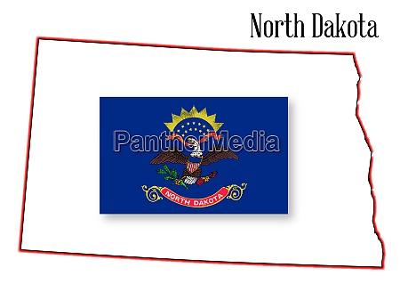 north dakota state map and flag