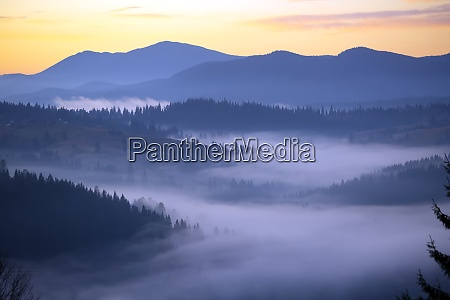 morning landscape in the mountains dawn