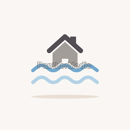 flood color icon with shadow weather
