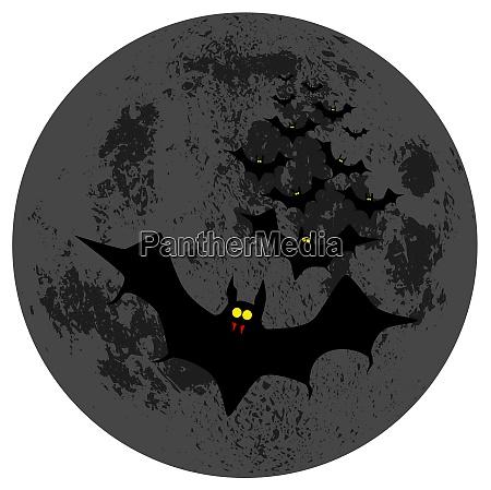 vampire bats against the dark moon