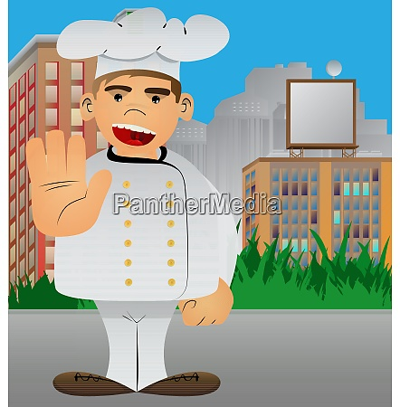chef in uniform showing deny or