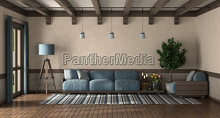 retro style living room with wooden