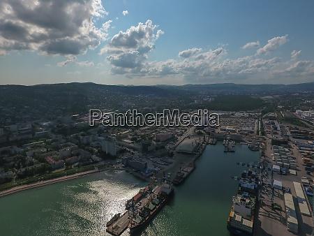 industrial seaport top view port cranes