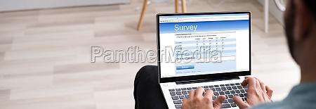 online survey feedback on computer
