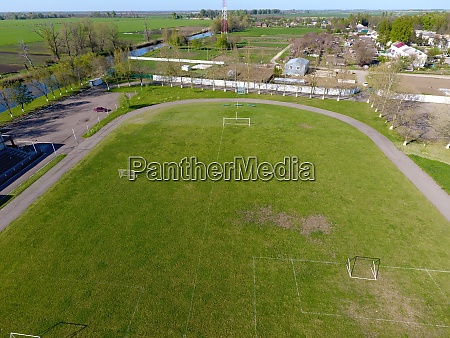 top view of a rural stadium