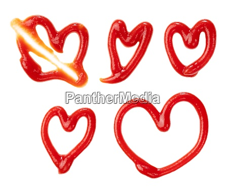 various heart shaped ketchup laid on