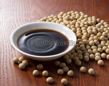soy sauce in a plate and