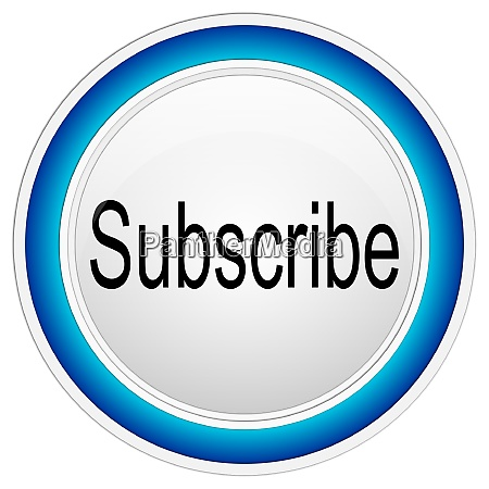 blue subscribe button on white background