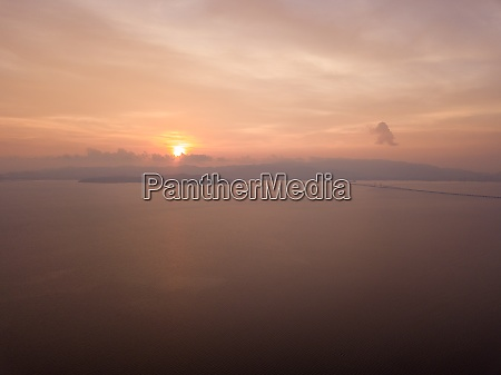 aerial view penang bridge connect to