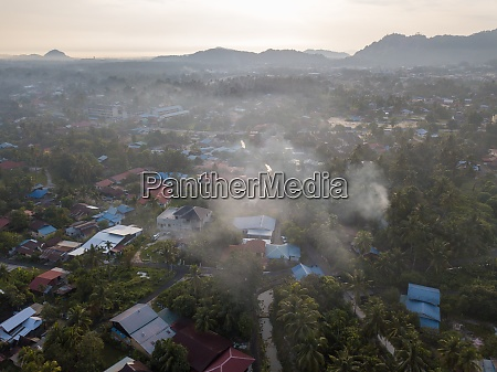 aerial view evening at malays village