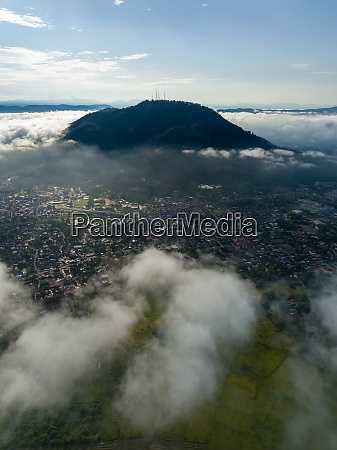 aerial view foggy cloud over village