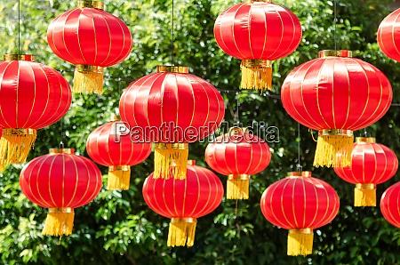 lantern decorated chinese new year