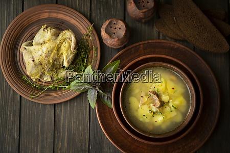 wild partridge meat on kitchen cooking