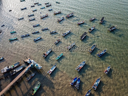 fishing boats in row