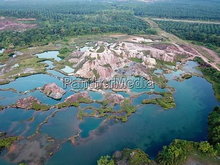 aerial view abandoned quarry