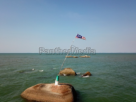 aerial view malaysia flag at sea