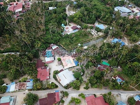 drone view malays village