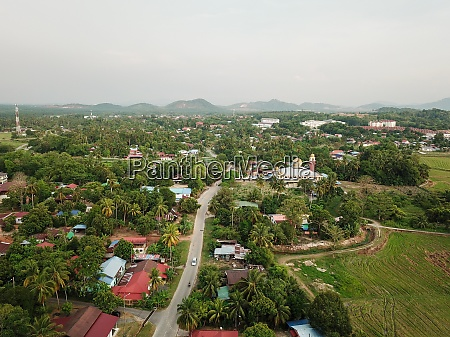 aerial view malays kampung at penanti