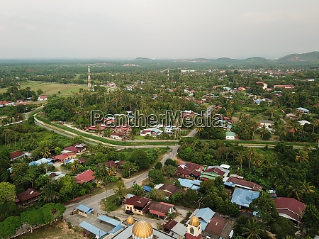 drone view malays kampung at penanti
