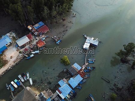 aerial view malays fishing village