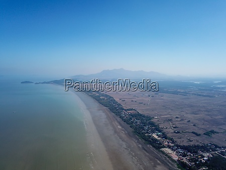 aerial view open vast area of