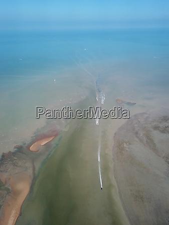 aerial view boat move at kuala