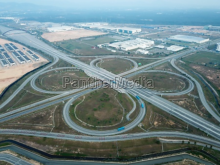 drone view clover leaves interchange