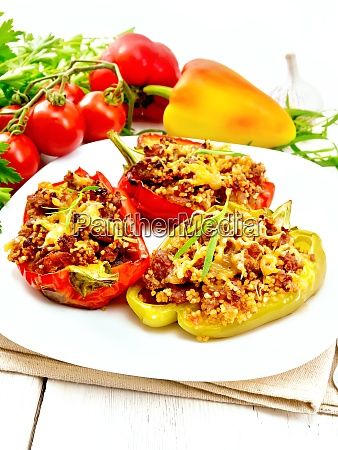 pepper stuffed with meat and couscous