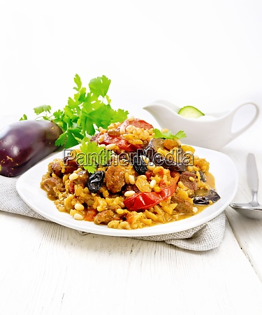 rice with vegetables and chicken in