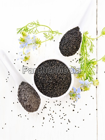seeds of black cumin in bowl