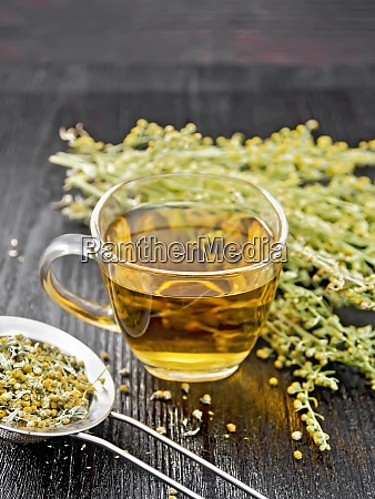 tea of gray wormwood in glass