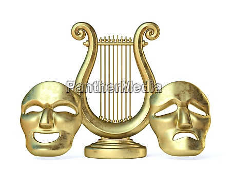 golden lyre with happy and sad