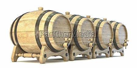 wooden barrels 3d
