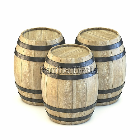 three wooden barrels 3d