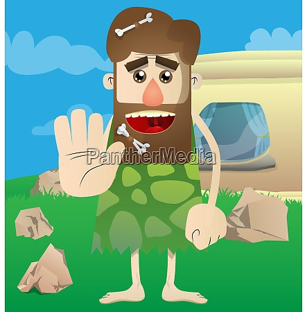 caveman showing deny or refuse hand