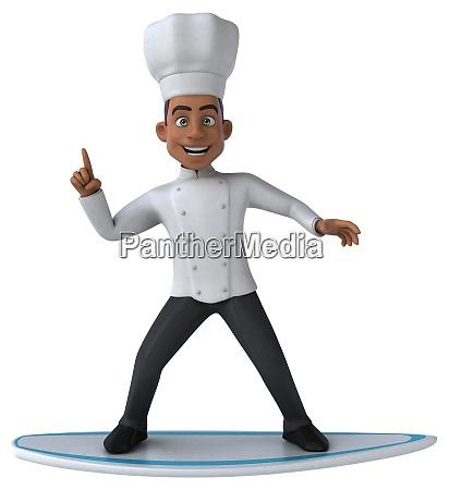 fun 3d cartoon chef surfing