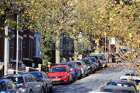 city street full of parked cars