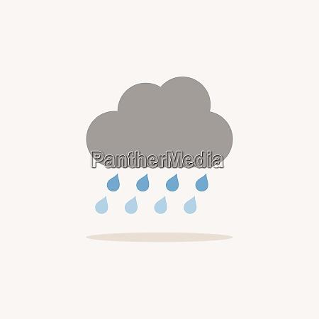 heavy rain and cloud color icon