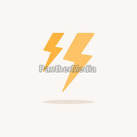 lightning storm color icon with shadow